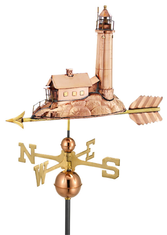 "27"" Luxury Polished Copper Nautical Lighthouse Weathervane by CC Home Furnishings"