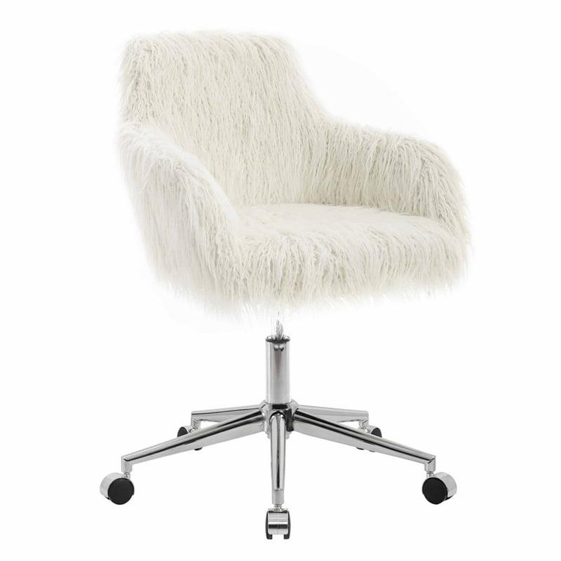 linon fiona white faux fur office chair. Black Bedroom Furniture Sets. Home Design Ideas