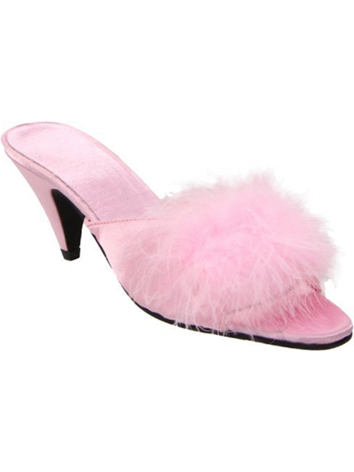 Womens Lingerie Slippers Faux Fur Strap 2 1/2 Inch Heel Satin Maribou Slides