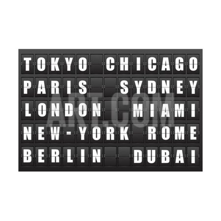 Flight Destination, Information Display Board Named World Cities Tokyo, Chicago, Paris, Sydney, Lon Print Wall Art By cherkas](Party City Contact Info)