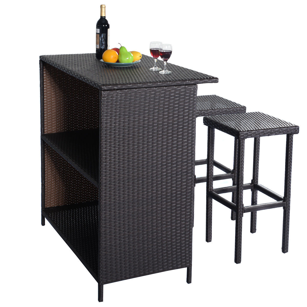 rattan wicker bar bbq dining set table and 2 stools patio. Black Bedroom Furniture Sets. Home Design Ideas