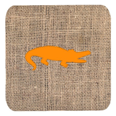 1120 Foam - Set of 4 Alligator Burlap and Orange Foam Coasters