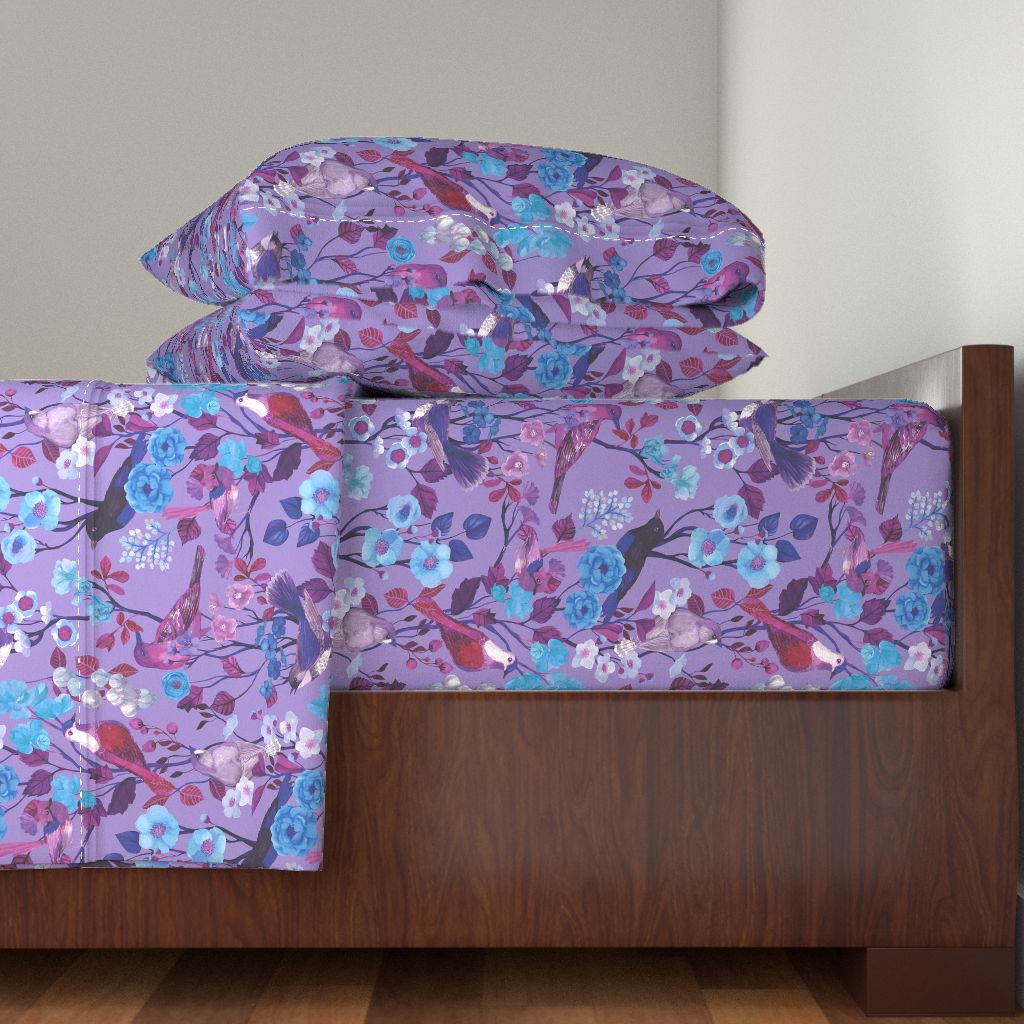Birds Chinoiserie Violet Purple 100% Cotton Sateen Sheet Set by Roostery