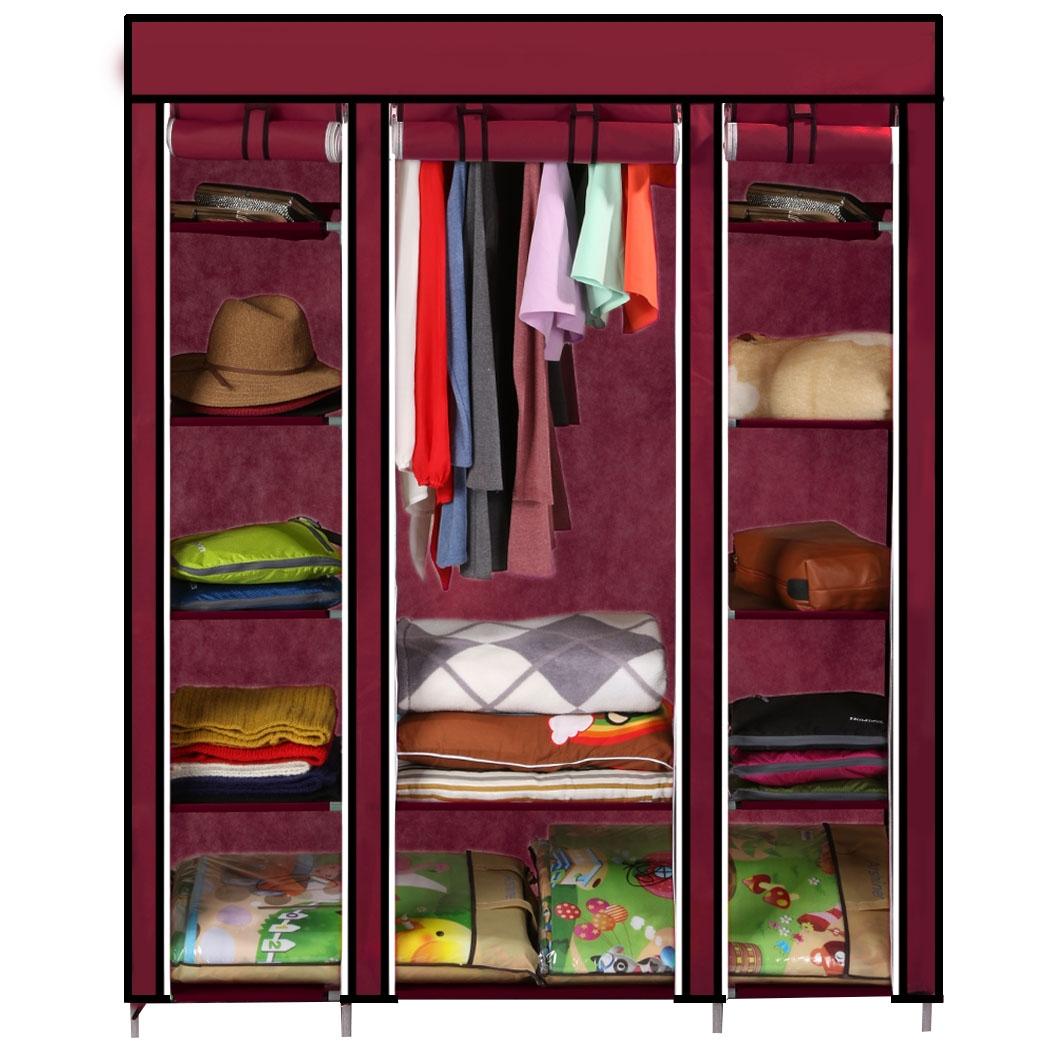 53Wine Red Portable Wardrobe Closet Storage OrganizerClothes