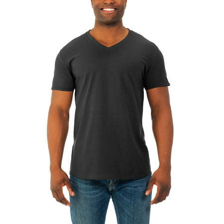 Fruit of the Loom Mens' soft short sleeve v-neck t shirt, 2 (Love Black 3x T-shirt)