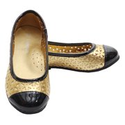 Gold Black Slip On Punched Out Flat Dress Shoe Toddler Little Girl 7-4