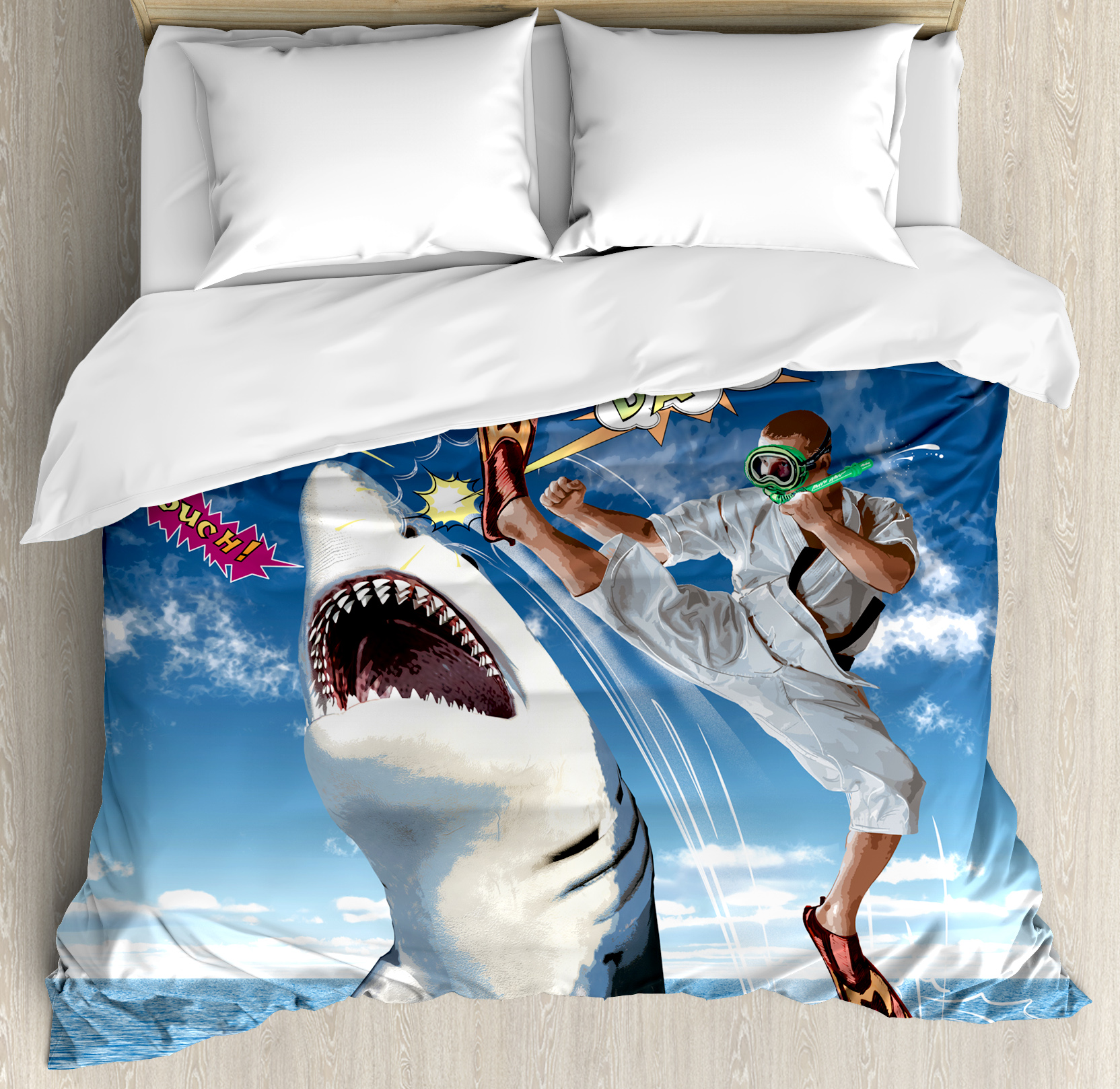 Sealife Duvet Cover Set, Unusual Marine Navy Life Animals Fish Sharks with Karate Kid and Comics Balloon Art, Decorative Bedding Set with Pillow Shams, Multicolor, by Ambesonne