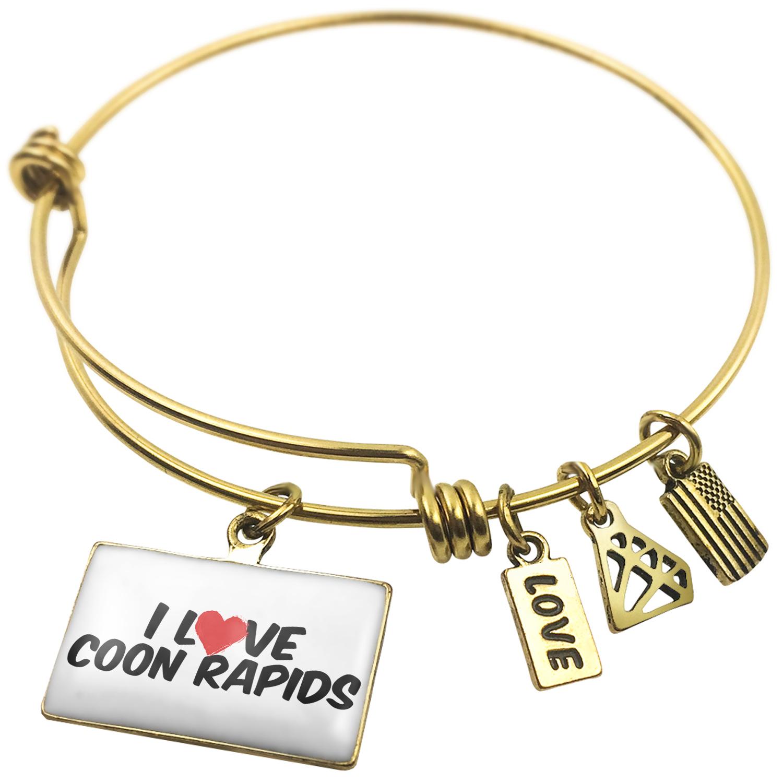 Expandable Wire Bangle Bracelet I Love Coon Rapids - NEONBLOND