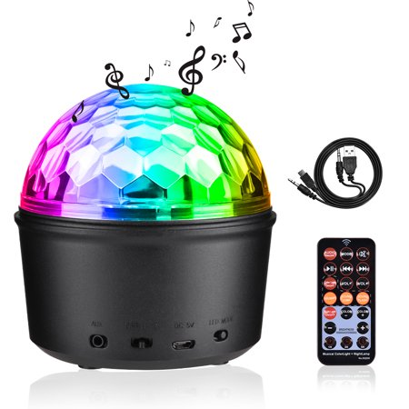 Disco Ball For Kids (Party Lights Sound Activated Disco Ball with Remote Control 9 Colors Disco Lights DJ Lights Wireless Phone Connection LED Stage Light for Kids Bedroom Wedding Party Birthday)