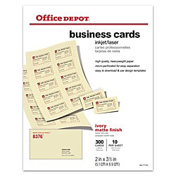 Office Depot Business Cards (Office Depot Matte Business Cards, 2in. x 3 1/2in., Ivory, Pack Of 300,)