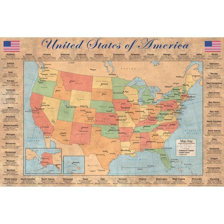 United States Of America Map With Details Poster   12X18