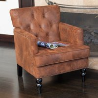 Malone Brown Tufted Club Chair by Christopher Knight Home Deals