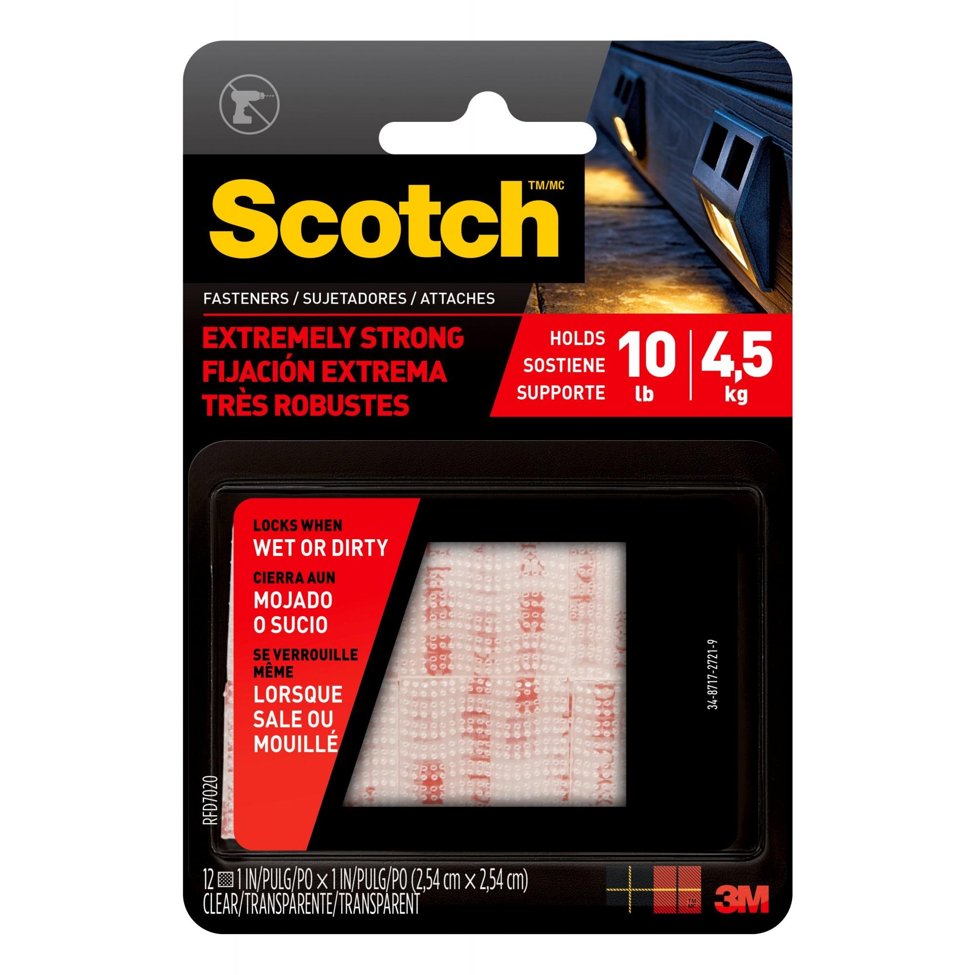 Scotch Extreme Fasteners, 1 in. x 1 in., Clear, 12/Pack