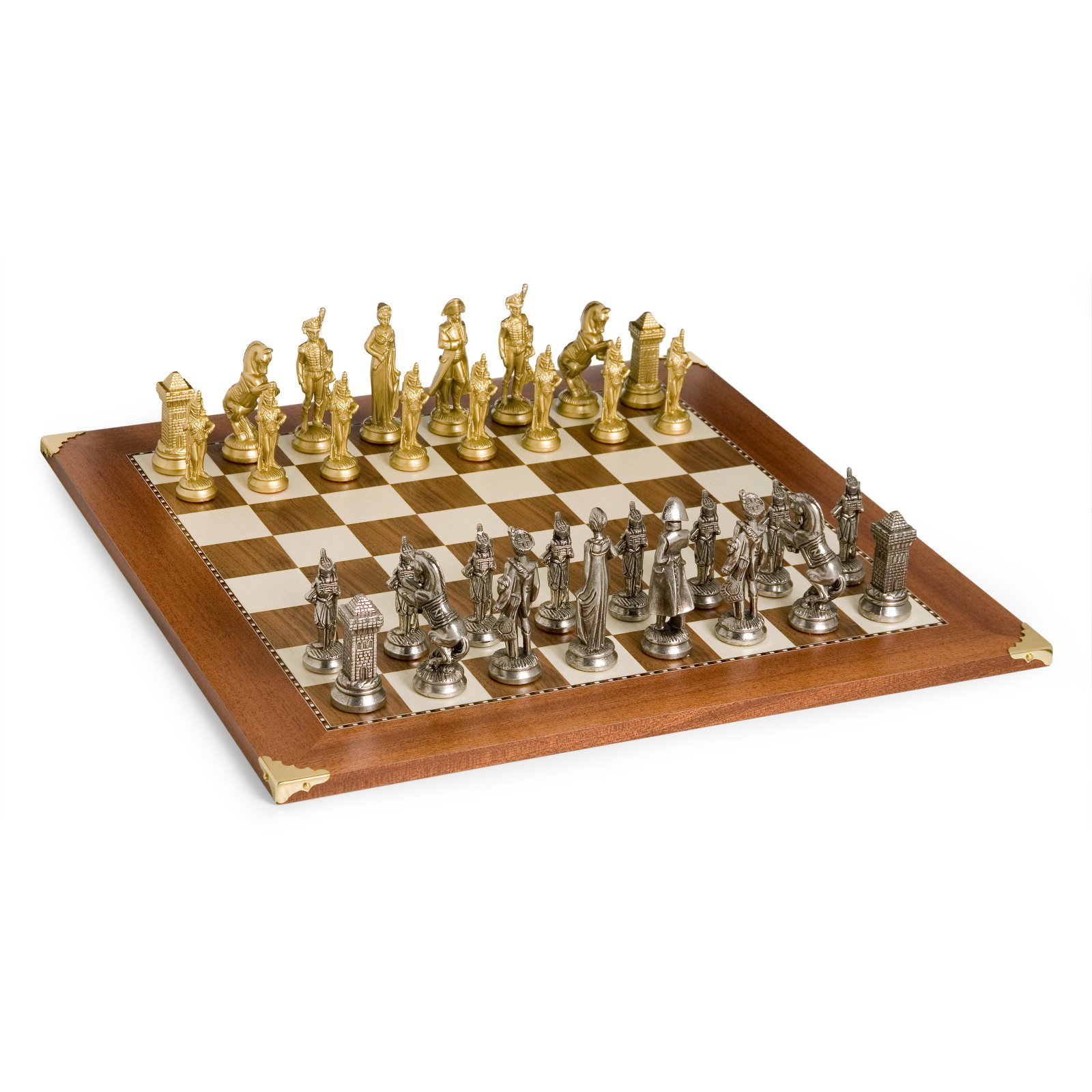 Napoleons Army Brass & Silver Chess Set by Cambor Games