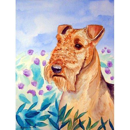 Caroline's Treasures Airedale Terrier in Flowers 2-Sided Garden Flag