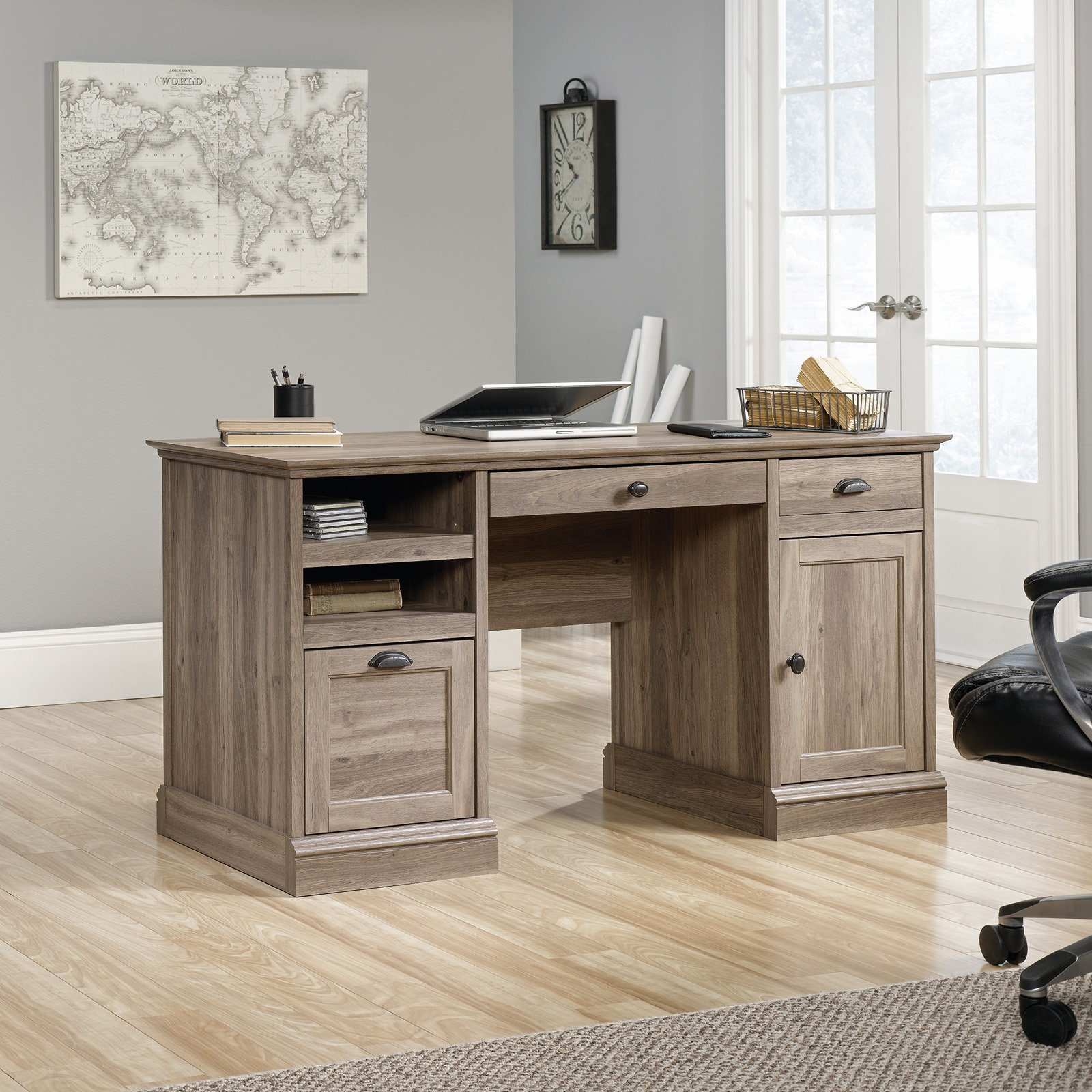 Sauder Barrister Lane Executive Desk, Salt Oak Finish by Sauder