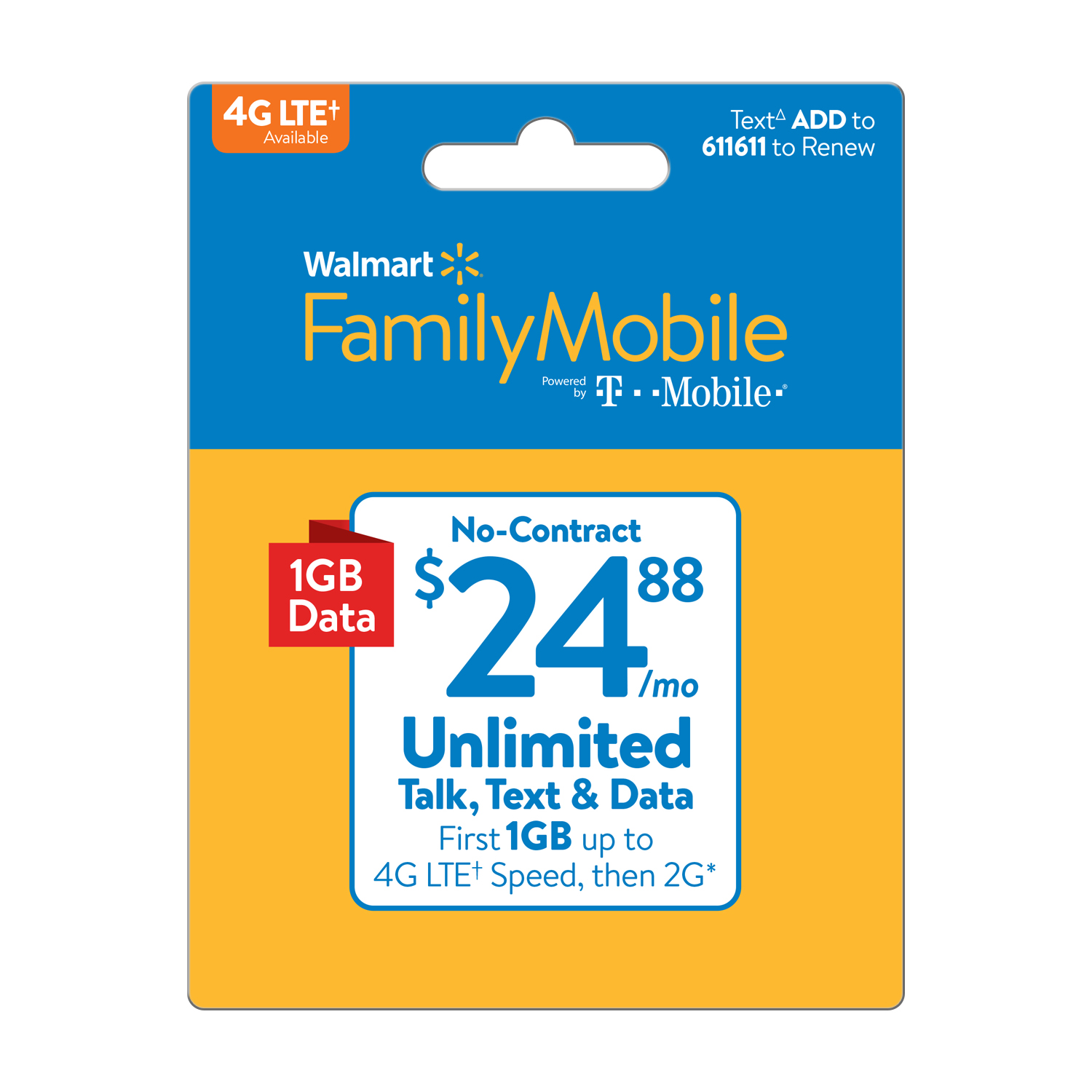 Walmart Family Mobile $24.88 Unlimited Monthly Plan (with up to 1GB at high speed, then 2G*) (Email Delivery)