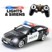 Prextex RC Police Car with Lights and Realistic Police Siren Sounds Remote Control Police Car Toys for Boys
