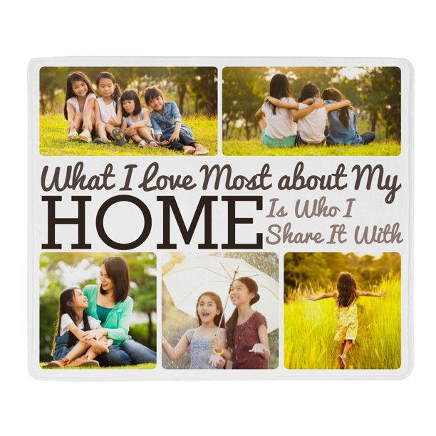 Personalized Heart of the Home Plush Photo Blanket - Color