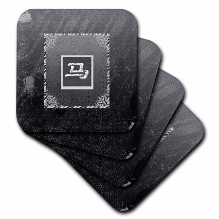 Chinese Horse Stone (3dRose Sign of Horse, Chinese New Year, Black and Gray, Distressed Aged Look, Soft Coasters, set of)