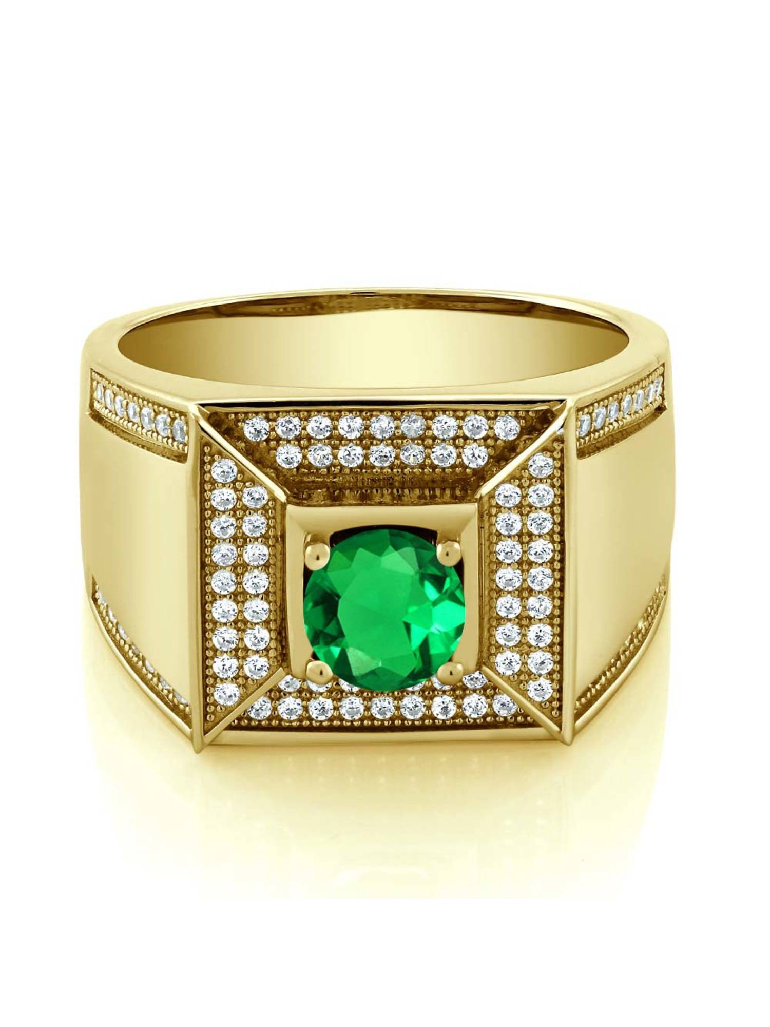 1.85 Ct Oval Green Peridot Simulated Sapphire 18K Yellow Gold Plated Silver Ring