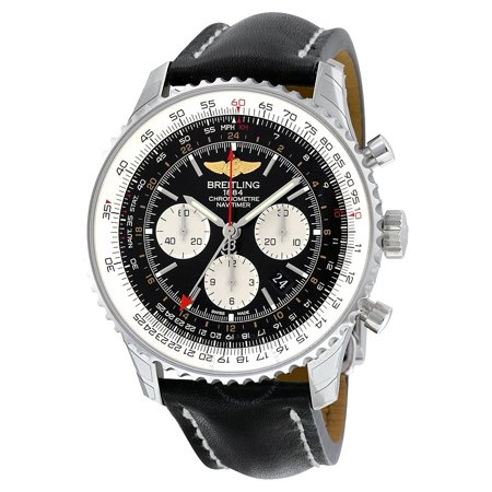 Breitling Navitimer GMT Black Dial Stainless Steel Mens Watch AB044121/BD24BKLD