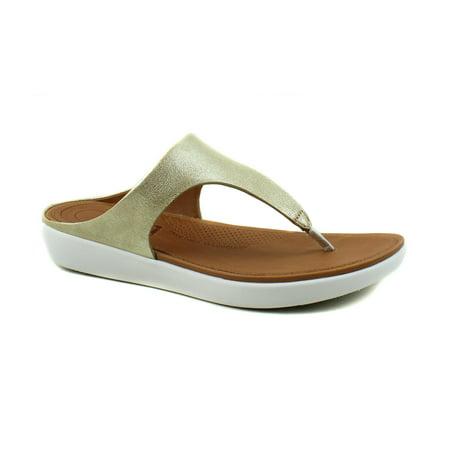 FitFlop Womens Banda II Metallic Gold Leather Toe Thong Flip Flop Sandals (Womans Gold Thong Sandals)