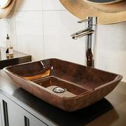 VIGO 18? Rectangular Russet Glass Vessel Bathroom Sink