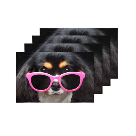 YUSDECOR Funny Puppy Dog Wearing Pink Sun Glasses Placemats Table Mats for Dining Room Kitchen Table Decoration 12x18 inch,Set of 4 - image 2 de 4