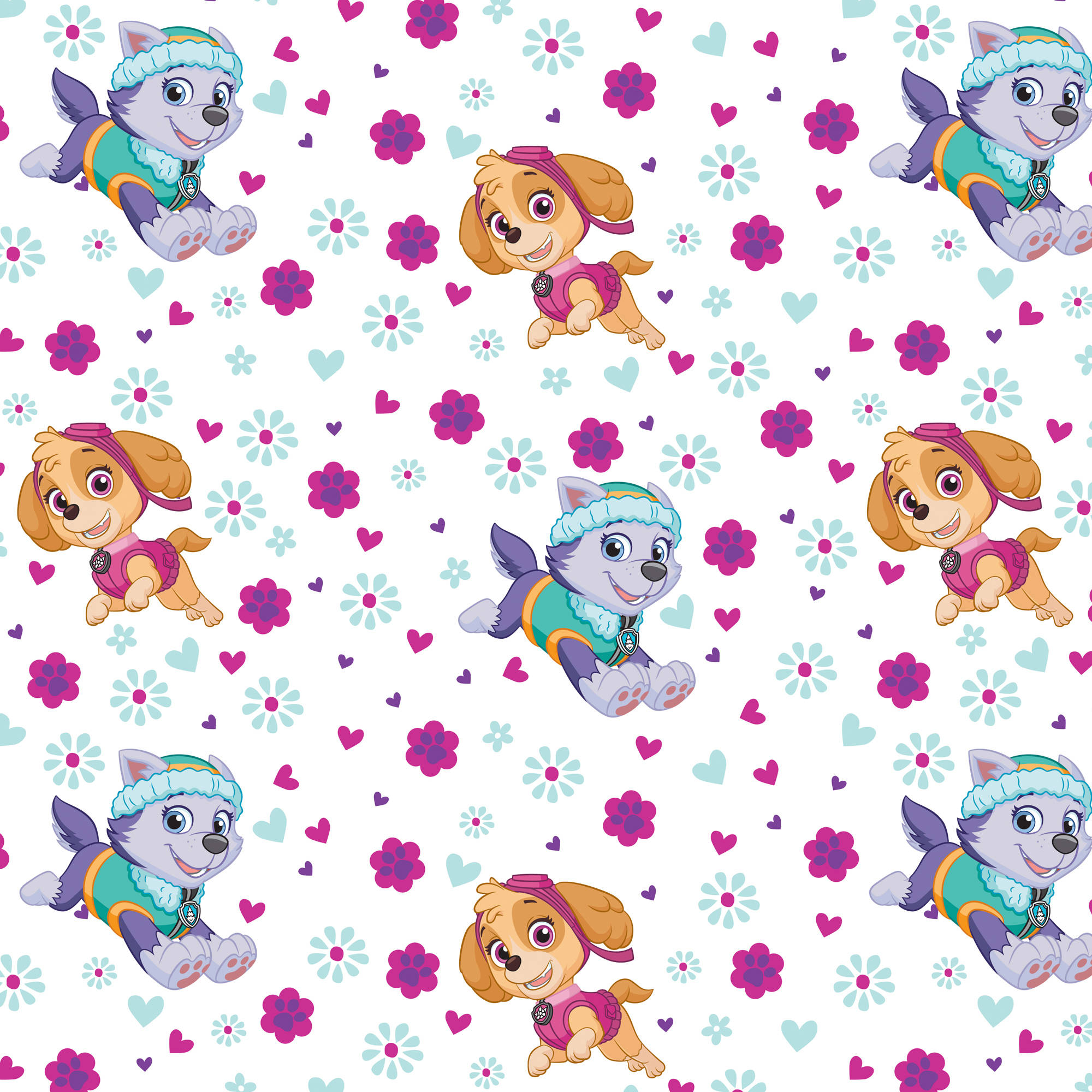 "Paw Patrol Pup Power Licensed 44"" Cotton Fabric By The Yard"