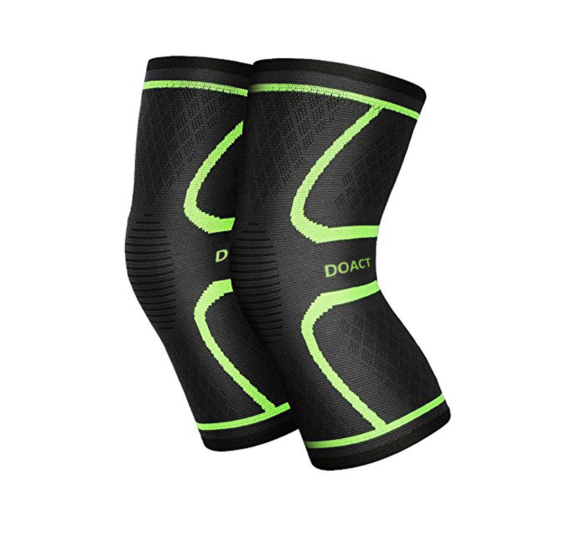 Doact Knee Brace Support, 1 Pair Unisxe Athletics Knee Compression Sleeve Support Wrap Brace for Pain Relief, Running, Jogging, Arthritis and Injury Recovery(L)