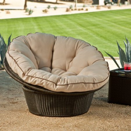 Vallejo All Weather Wicker Papasan Chair With Cushion Walmart Com