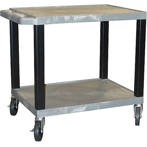 H. Wilson Tuffy A/V Cart 2 Shelves includes Electric, Gray Shelves & Black Legs