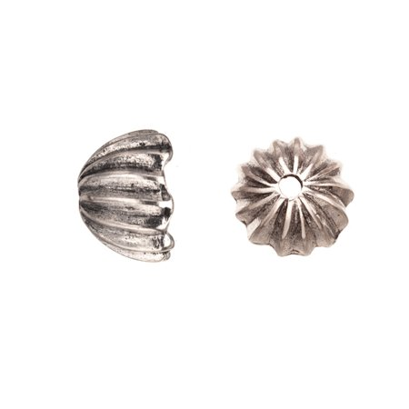 Ribbed Round Antique Silver-Plated Bead Cap/Cord End Fits 18.5-20.5mm Beads 19x19mm Sold per pkg of 4pcs per - Plated End Caps