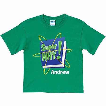 Personalized super why logo boys 39 t shirt green for Walmart custom made t shirts