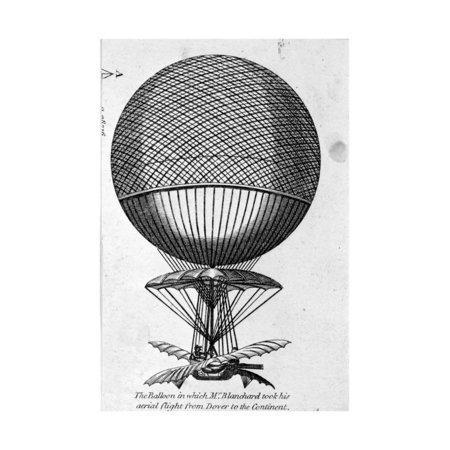 Engraving of Balloon Used by Jean Pierre Francois Blanchard Print Wall - Engraved Balloons