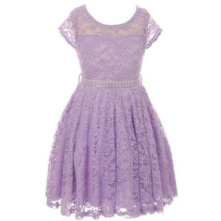 Little Girl Cap Sleeve Lace Skater Stone Belt Flower Girls Dresses (19JK88S) Lilac 2