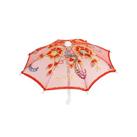 Bridal Shower Embroider Floral Decor Mini Lace Umbrella Red ()