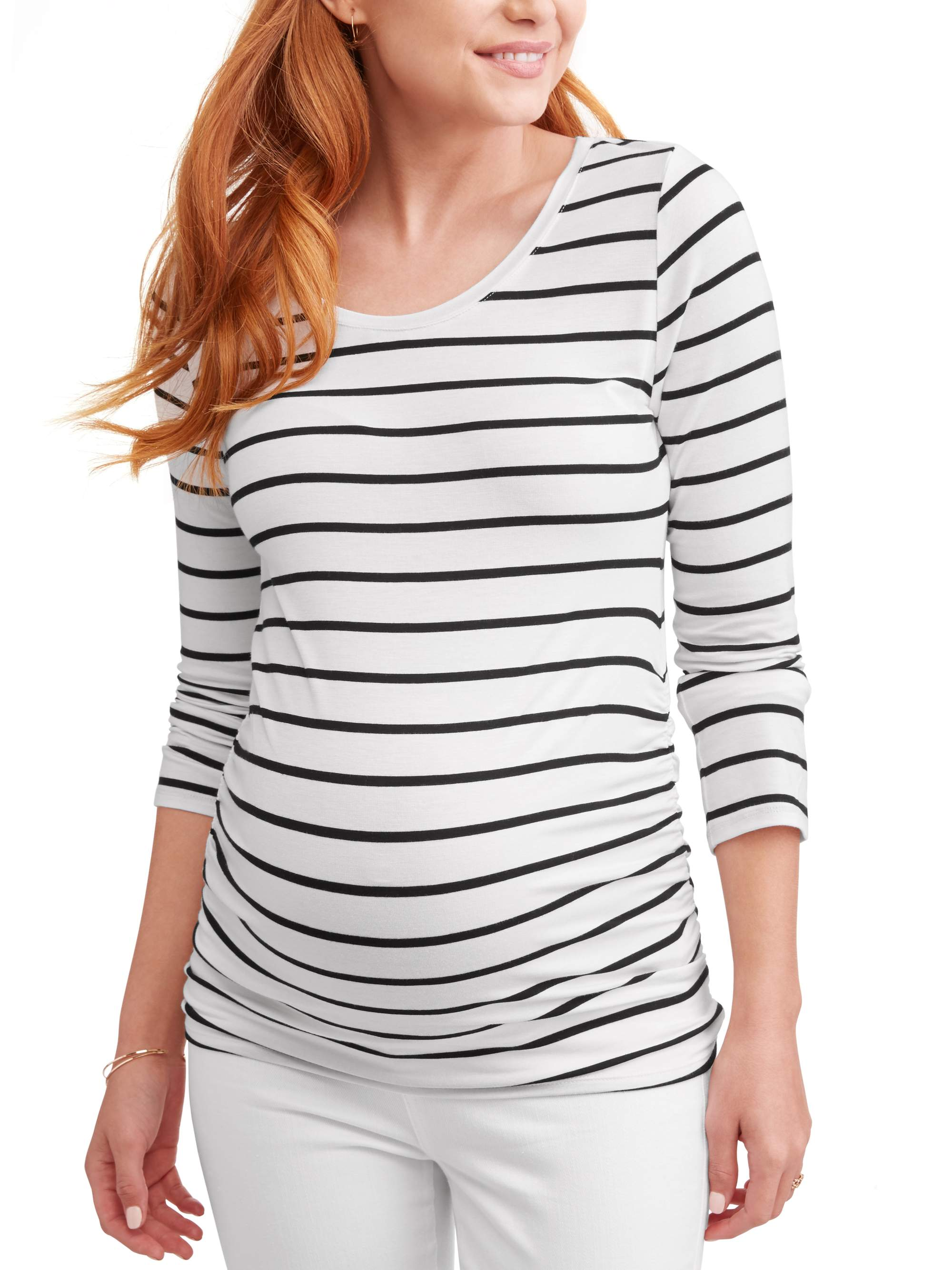 Maternity Side Ruched Long Sleeve Crew Neck Tee by ES Sutton