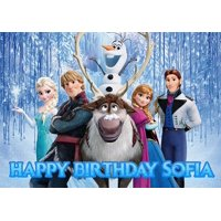 Disney FROZEN Birthday Cake Personalized Cake Topper Edible Frosting Photo Icing Sugar Paper A4 Sheet 1/4