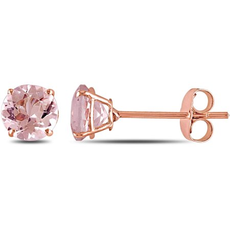 1 Carat T.G.W. Morganite 10kt Rose Gold Princess Solitaire Stud (Rose Gold Plated Tiffany Solitaire)