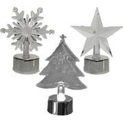 Christmas Acrylic LED Light Up Candles - Star, Snowflake, & Christmas Tree (Set of 3)
