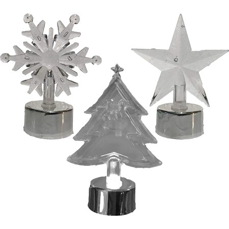 Christmas Acrylic LED Light Up Candles - Star, Snowflake, & Christmas Tree (Set of 3) Christmas Tree Candle Clips
