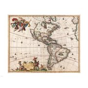 Pivot Publishing - A PPAPVP2657 1658 Visscher Map of North America and South America 1658 -24 x 18- Poster Print