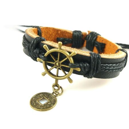 New Unisex Chrome & Genuine Leather Nautical Ship Wheel Bracelet Great Valentine's Day Gifts For Men, Women, Teens, Boys, Girls](Bracelets For Boys)