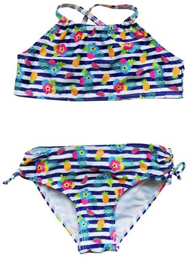 So Sydney Swim Girls' Two Piece High Neck Bikini Swimsuit Bathing Suit