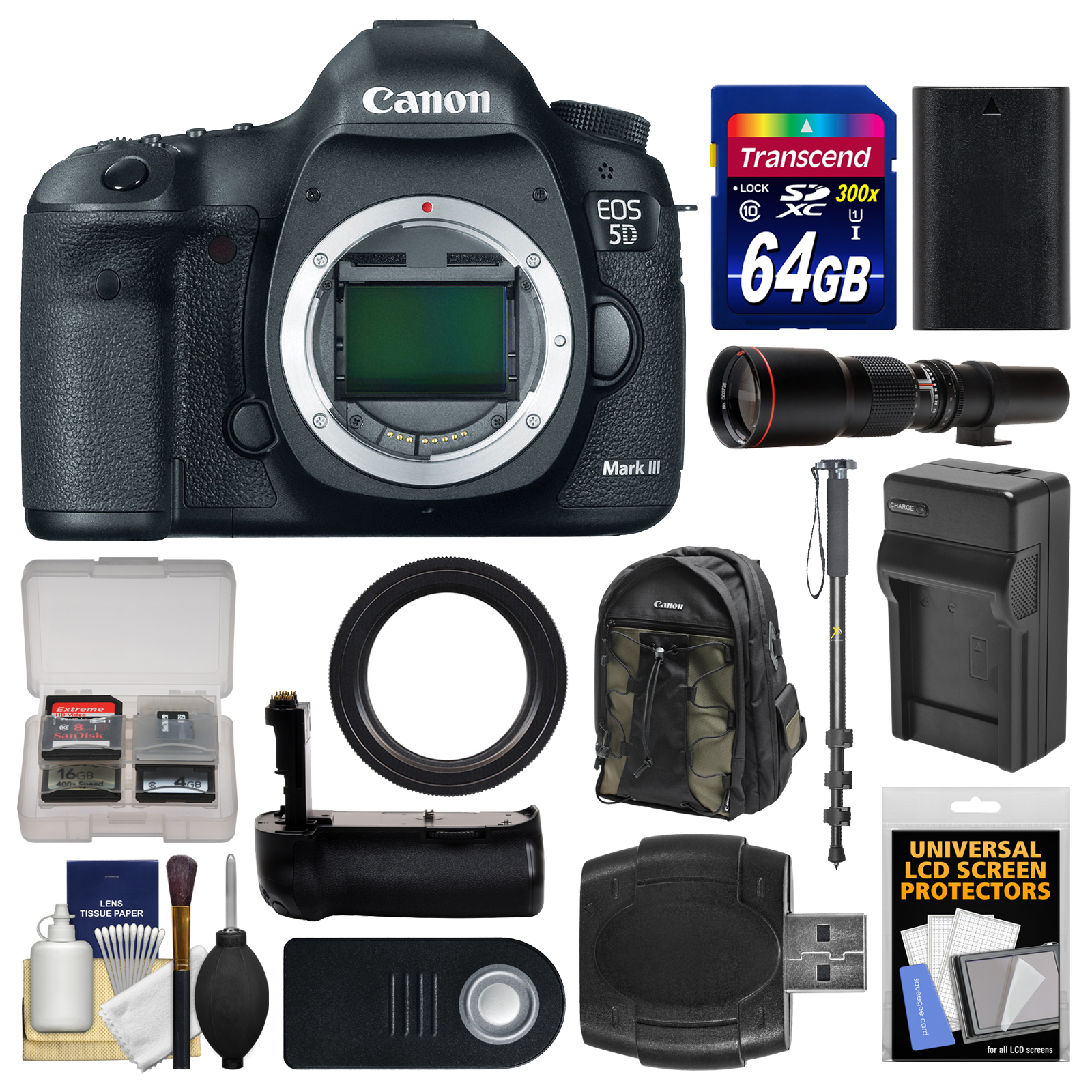 Canon EOS 5D Mark III Digital SLR Camera Body with 500mm Telephoto Lens + 64GB Card + Backpack + Battery & Charger +... by Canon