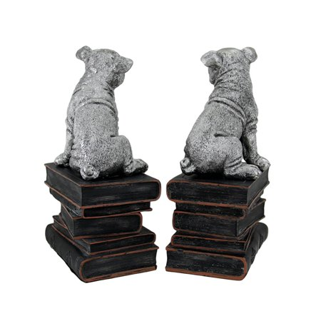 Wrinkle Dogs On Books Antique Silver Finish Decorative Bookends - image 3 of 4