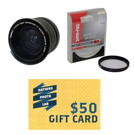 Opteka .35x High Definition II Super Wide Angle Panoramic Macro Fisheye Lens for Fuji FujiFilm FX10 Digital Camera Includes Special FX10 Adapter Ring With BonusUVFilter + $50 Photo Print Gift Card!