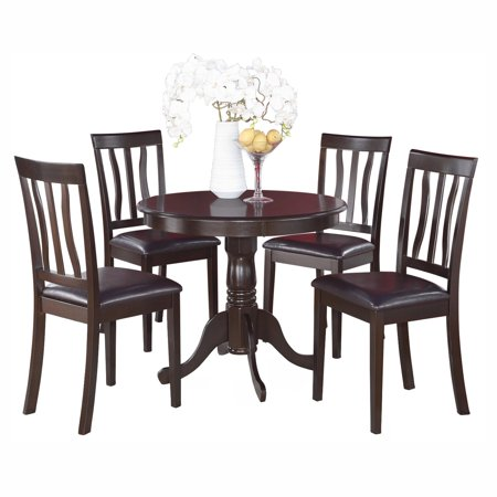 East west furniture antique 5 piece pedestal round dining for Leather chairs for kitchen table